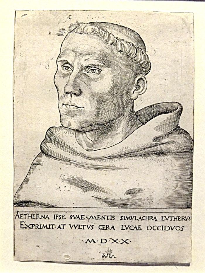 Luther som munk, tecknat av Lucas Cranach.